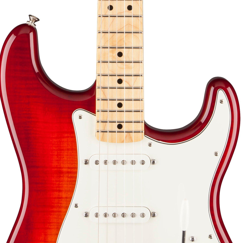 Đàn Guitar Fender Standard Stratocaster HSS Plus Top mang âm sắc huyền thoạ icủa Fender với phong cách cổ điển cho âm thanh tuyệt vời, với nét sang trọng nhất của mặt top flame maple trên thùng đàn gỗ alder